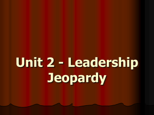 Unit 2 - Leadership Jeopardy