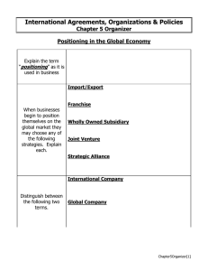 International Agreements, Organizations & Policies Chapter 5 Organizer positioning
