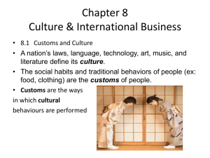 Chapter 8 Culture & International Business