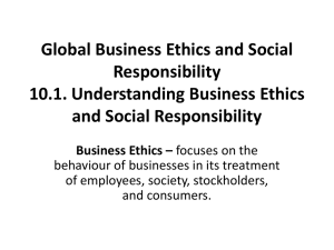 Global Business Ethics and Social Responsibility 10.1. Understanding Business Ethics and Social Responsibility