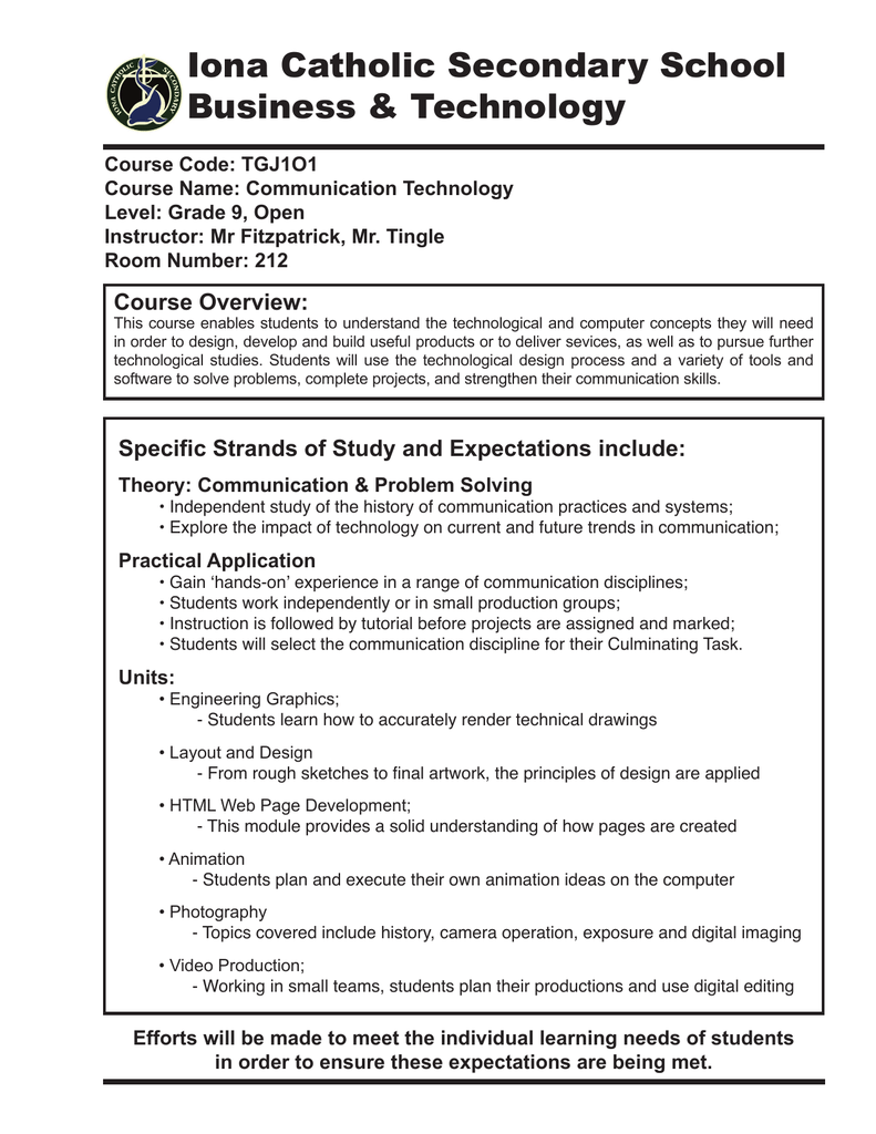 Iona Catholic Secondary School Business Technology