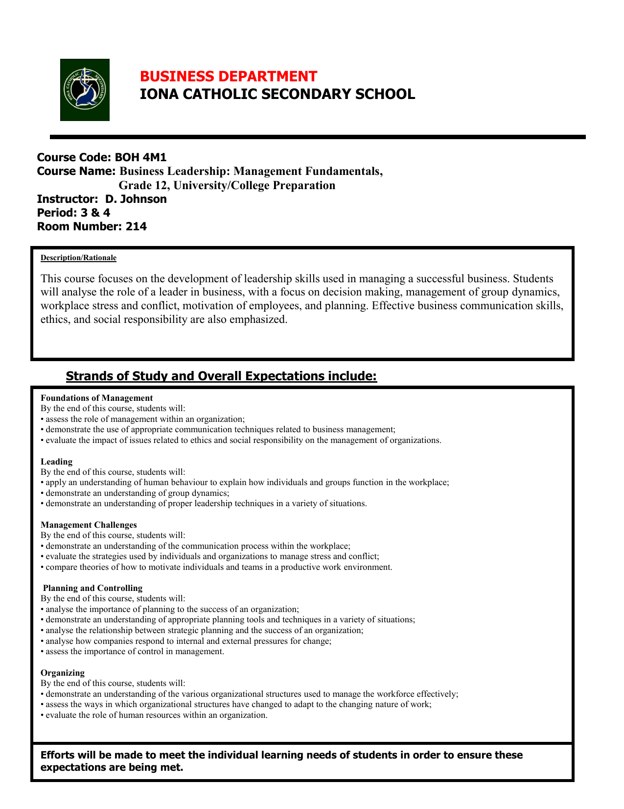 IONA CATHOLIC SECONDARY SCHOOL BUSINESS DEPARTMENT Business