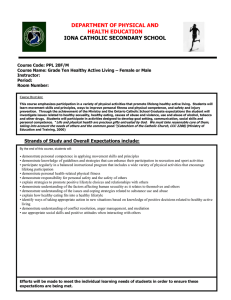 IONA CATHOLIC SECONDARY SCHOOL DEPARTMENT OF PHYSICAL AND HEALTH EDUCATION