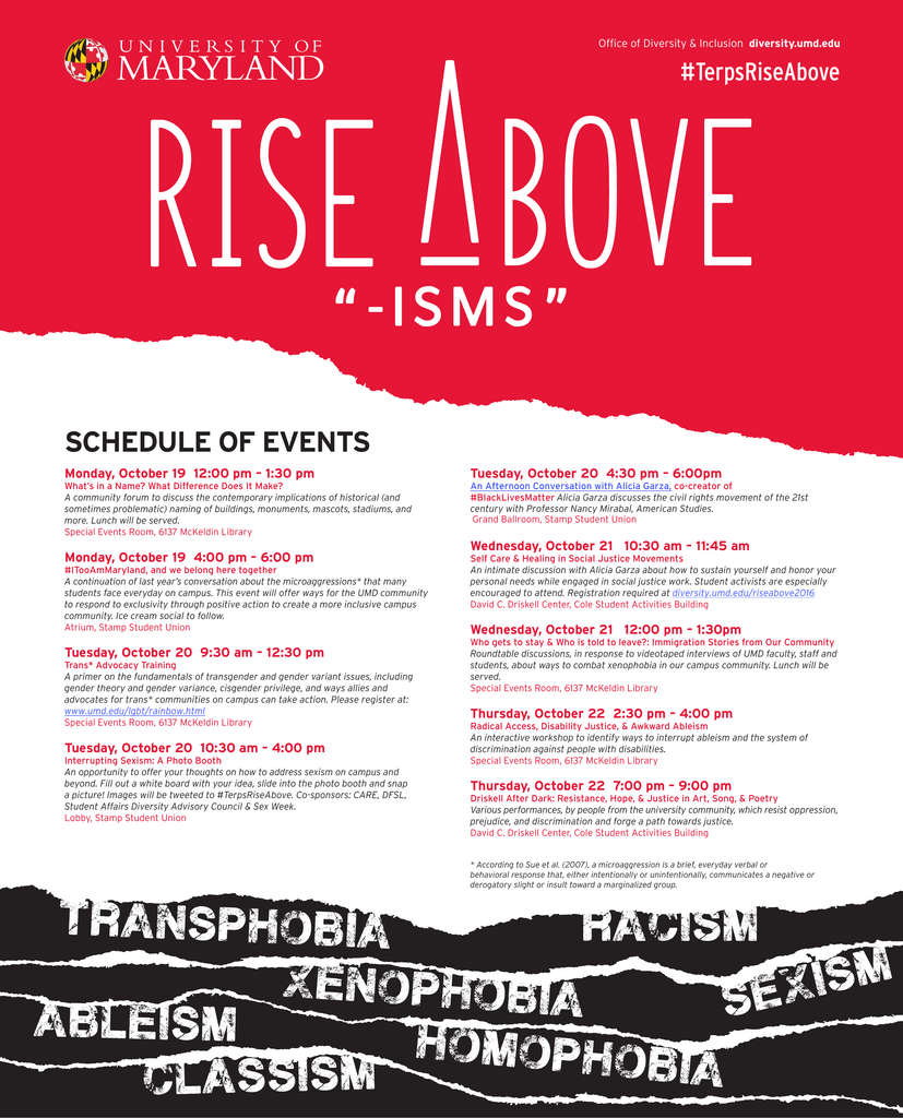 """I S M S """" SCHEDULE OF EVENTS #TerpsRiseAbove"""
