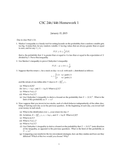 CSC 246/446 Homework 1 January 15, 2015