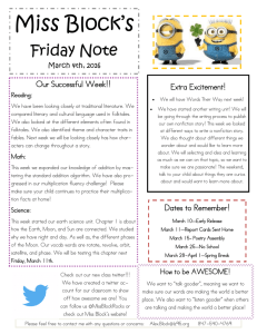 Miss Block's Friday Note  Our Successful Week!!