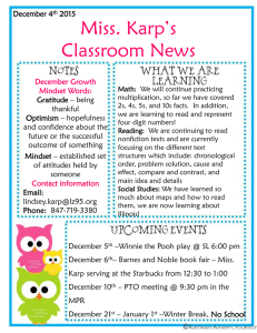 Miss. Karp's Classroom News December 4 2015