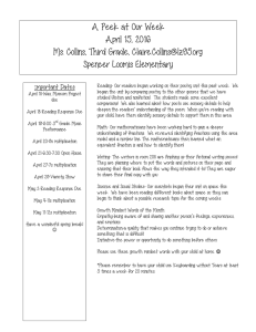 A Peek at Our Week April 15, 2016 Ms. Collins, Third Grade,