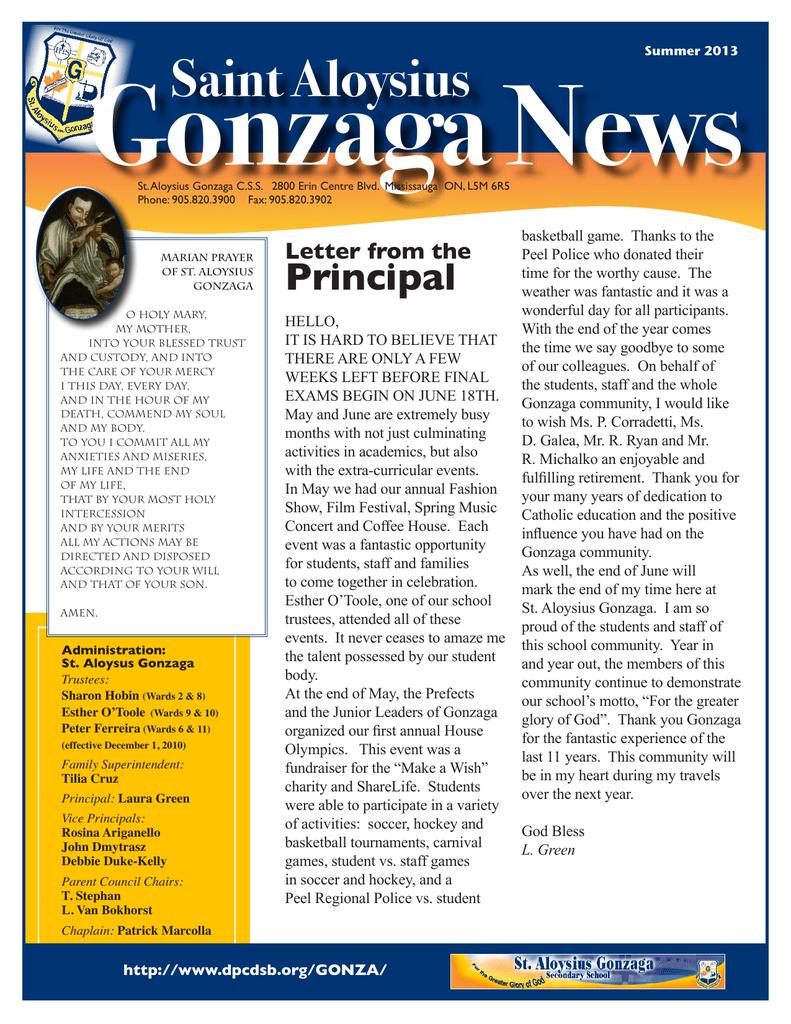 Gonzaga News Saint Aloysius Principal Letter From The
