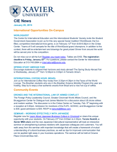 CIE News  International Opportunities On-Campus January 20, 2015