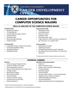 CAREER OPPORTUNITIES FOR COMPUTER SCIENCE MAJORS