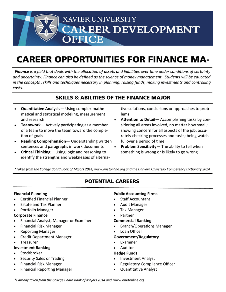 CAREER OPPORTUNITIES FOR FINANCE MA-