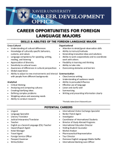 CAREER OPPORTUNITIES FOR FOREIGN LANGUAGE MAJORS