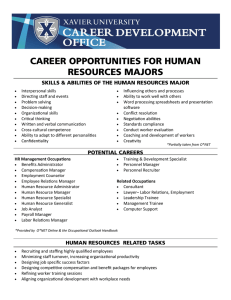 CAREER OPPORTUNITIES FOR HUMAN RESOURCES MAJORS