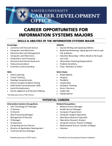 CAREER OPPORTUNITIES FOR INFORMATION SYSTEMS MAJORS