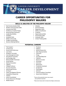 CAREER OPPORTUNITIES FOR PHILOSOPHY MAJORS SKILLS & ABILITIES OF THE PHILOSPHY MAJOR