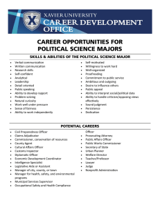 CAREER OPPORTUNITIES FOR POLITICAL SCIENCE MAJORS
