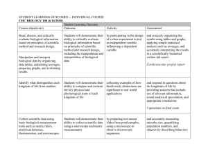 STUDENT LEARNING OUTCOMES -- INDIVIDUAL COURSE  Student Learning Outcome Course objective(s)