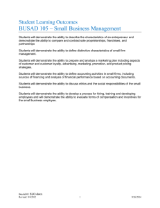 BUSAD 105 – Small Business Management Student Learning Outcomes