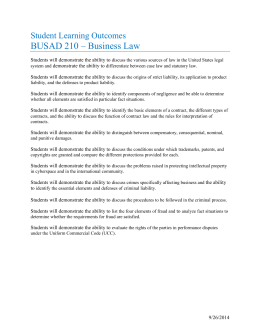 BUSAD 210 – Business Law Student Learning Outcomes