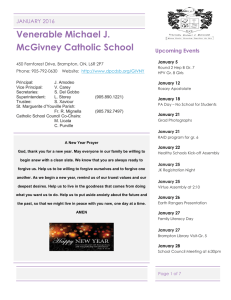 Venerable Michael J. McGivney Catholic School JANUARY 2016 Upcoming Events