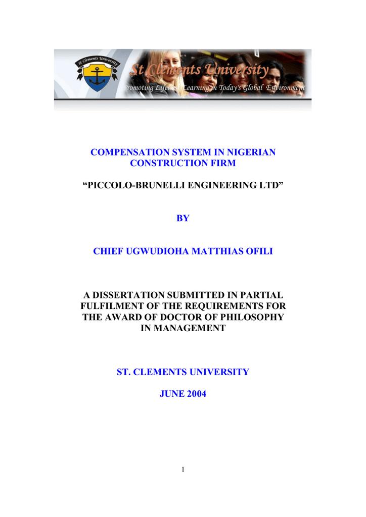 Phd thesis compensation management