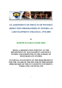 AN ASSESSMENT OF IMPACTS OF POVERTY REDUCTION PROGRAMMES IN NIGERIA AS