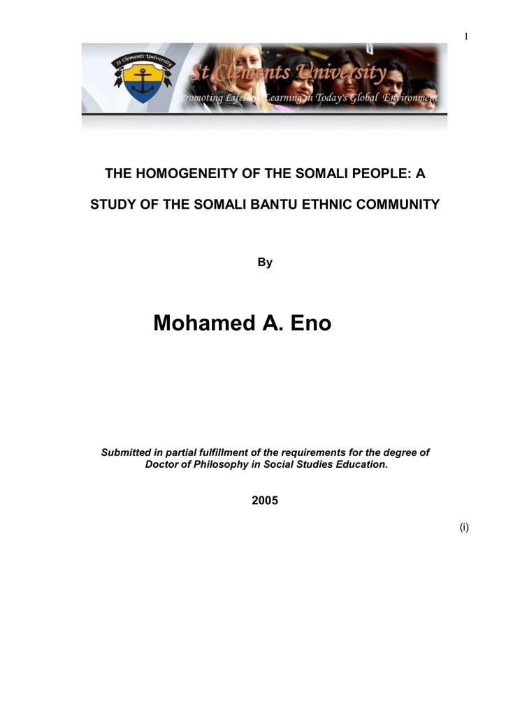 Mohamed A  Eno THE HOMOGENEITY OF THE SOMALI PEOPLE: A