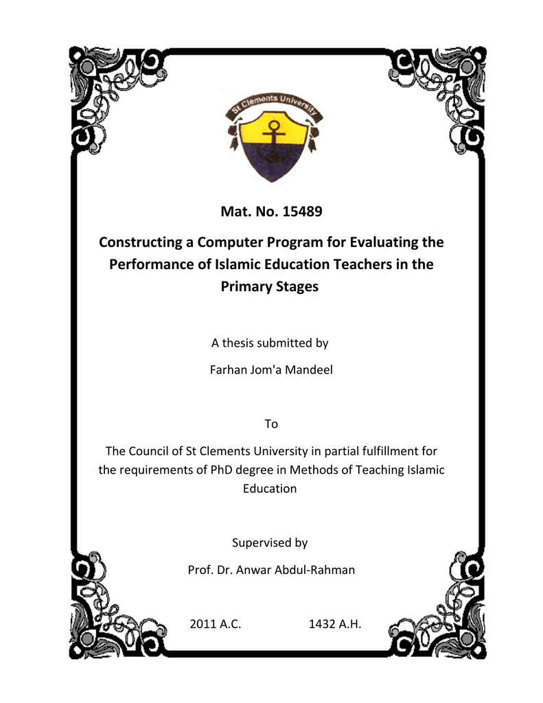 39ca91f4d 15489 Constructing a Computer Program for Evaluating the Performance of  Islamic Education Teachers in the