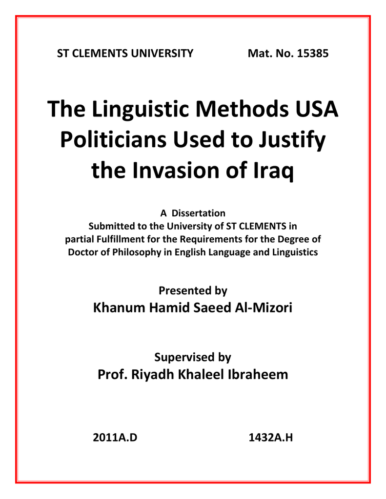 The linguistic methods usa politicians used to justify the invasion the linguistic methods usa politicians used to justify the invasion of iraq st clements university mat no 15385 fandeluxe Image collections