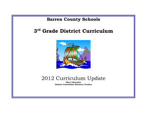 3 Grade District Curriculum 2012 Curriculum Update