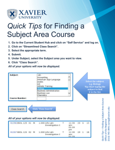 Quick Tips Subject Area Course