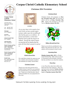 Corpus Christi Catholic Elementary School  Christmas 2014 Newsletter