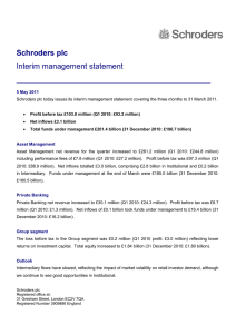 Schroders plc Interim management statement