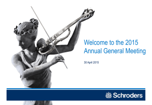 Welcome to the 2015 Annual General Meeting 30 April 2015