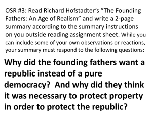 "OSR #3: Read Richard Hofstadter's ""The Founding"