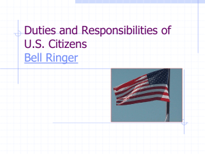 Duties and Responsibilities of U.S. Citizens Bell Ringer