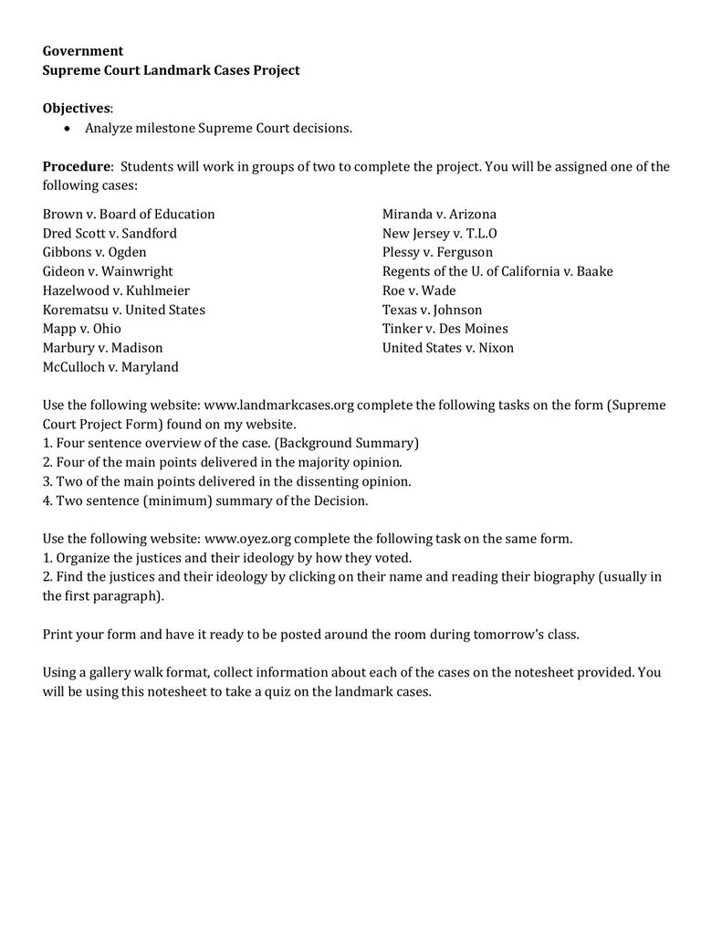 worksheet Korematsu V United States Worksheet government supreme court landmark cases project objectives procedure