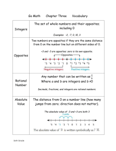 Go Math      Chapter Three  ... The set of whole numbers and their opposites; including 0 Integers