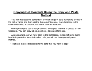 Copying Cell Contents Using the Copy and Paste Method