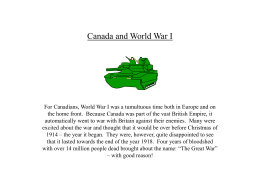 Canada and World War I