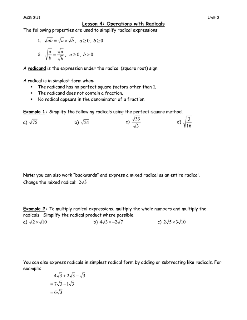 Lesson 22: Operations with Radicals  22  Within Simplifying Radicals Worksheet 1