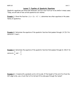 Lesson 7: Families of Quadratic Equations