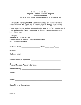 Division of Health Sciences Physical Therapist Assistant Program Observation Form