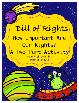 Bill of Rights How Important Are Our Rights? A Two-Part Activity