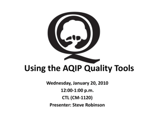 Using the AQIP Quality Tools Wednesday, January 20, 2010 12:00-1:00 p.m. CTL (CM-1120)