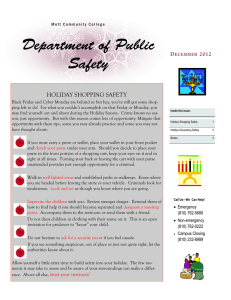 Department of Public Safety HOLIDAY SHOPPING SAFETY D