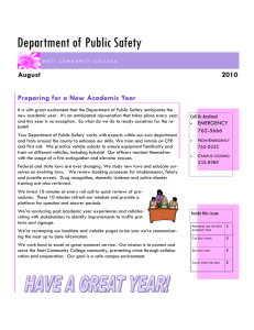 Department of Public Safety Preparing for a New Academic Year 2010 August