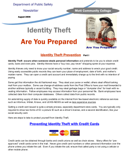Identity Theft Are You Prepared Identity Theft Prevention Department of Public Safety
