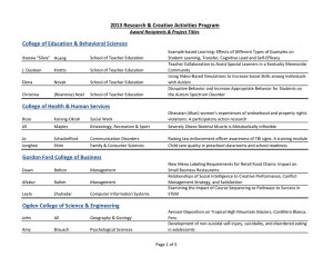 College of Education & Behavioral Sciences Award Recipients & Project Titles
